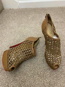 CHRISTIAN LOUBOUTIN Kasha Studded Peep Toe Cage Bootie Heels shoes UK4EU37.5US6