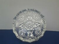 """Vintage Anchor Hocking Clear Glass Star of David 7-1/4"""" Ashtray"""