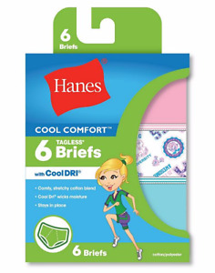 """Hanes® Girls' Cool Comfort™ Briefs with Cool Dri® 6-Pack """"ALL SIZE"""" NEW!!!!"""