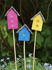 Miniature FAIRY GARDEN ~ Set of 3 Bright Festive Birdhouse Picks ~ NEW