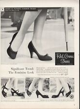 Vintage advertising print ad FASHION Red Cross Shoes Heels Snuggle Fairfax 1956
