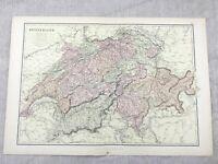 1882 Mappa Antica Di Svizzera Alpi Europa Vecchio Originale 19th Secolo