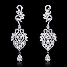 Elegant Wedding Lace Flower Dangle Earrings Austrian Crystal Clear Women Gift