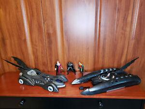 1995 Batman Forever Movie Lot Batmobile Car Boat Two Face Robin Figures Batboat