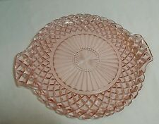 """Waterford Pink Depression  """"Waffle"""" Cake Plate w/Handles Hocking Glass Co."""