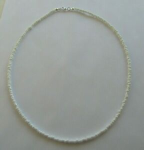 """WHITE LUSTRE SEED BEAD NECKLACE 18"""" SILVER PLATED"""