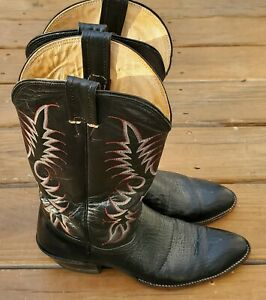 Men's Nocona Black Leather A717 Western Cowboy Boots Size 10 AA