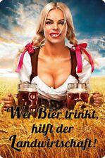 """Blechschild """"Wer Bier trinkt, hilft der Landwirtschaft"""" Frau im Dirndl (NEU&OVP)"""