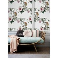 Non-Woven wallpaper Watercolor HIBISCUS flower Floral print Traditional Mural