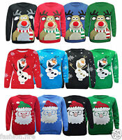 Kids XMAS Unisex Girls Boys Santa Rudolph Snowman Christmas Jumpers 5-12 Yr