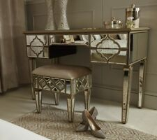 Sahara Antique Gold Mirrored Glass 5 Drawer Console Dressing Table Bedroom