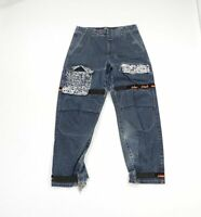Vintage 90s Marithe Francois Girbaud Mens 34x32 Spell Out Distressed Jeans Blue
