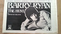 BARRY RYAN The Hunt 1969 UK Press ADVERT 12x8 inches