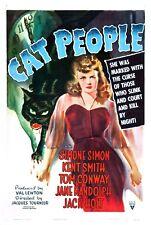 Cat People - Val Lewton - Simone Simon - A4 Laminated Mini Movie Poster