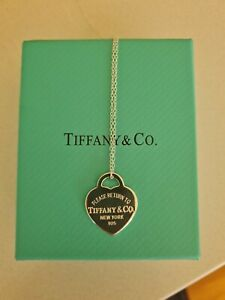 TIFFANY & CO Sterling Silver Return to Tiffany Small Heart Tag Pendant Necklace