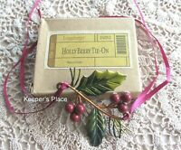 Longaberger HOLLY BERRY Holiday Basket Metal Tie-On Red Green Christmas New Box
