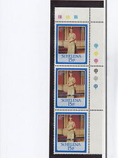 ST HELENA:1987 Ruby Wedding 15p overprint OMITTED SG 515a unm strip of three