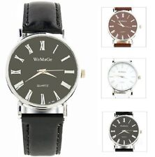 Faux Leather Band Men's Stainless Steel Case Casual Watches