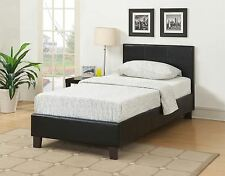 Berlin 3FT 90cm Single Bed Upholstered in Black Faux Leather Classic Bedstead