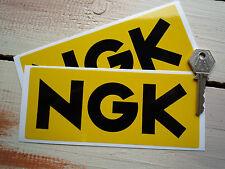 "NGK Black & Yellow Oblong STICKERS 6.5"" Pair Nissan Kawasaki Karting Snowmobile"