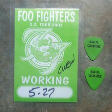 Foo Fighters One by One Tour Backstage Pass and 2 Guitar Pick Set