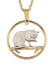 """Cat (British Blue) Pendant & Necklace Isle Of Man Cutcoin 3/4"""" diameter (# 669)"""