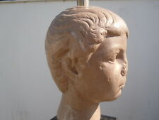 Lampe visage sculptural buste enfant romain vers 1970 pierre reconstituée