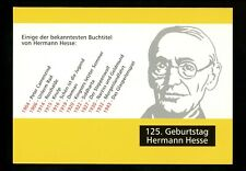Postal History Germany Fdc #2170 Folder Card Hermann Hesse author 1962