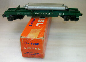 LIONEL POSTWAR 3362 HELIUM TANK UNLADING CAR EXCELLENT+ IN A ROUGH ORIGINAL BOX