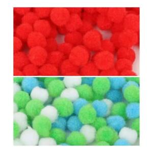 Small Craft Pompoms Fuzzy Balls 10mm Various Red or Blue Green White Mix