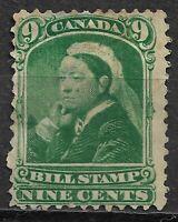 CANADA: 1868 QV - 9c BILL STAMP - MINT HINGED - NICE!