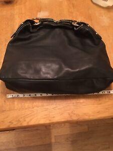 Authentic Vintage Gucci Horse bit black extra-large leather hobo bag! Excellent
