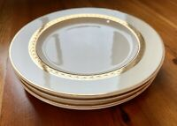 """4 Salad Plates, Rare Pattern, Gold Band Of Leaves And Gold Trim On Rim, 8"""""""