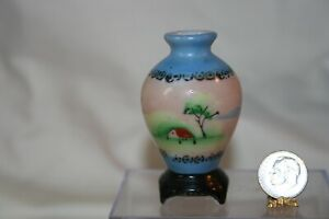 Miniature Dollhouse Vtg Occupied Japan Floor Vase w Handpainted Scene 1:12 NR
