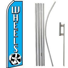 Wheels Blue / White Swooper Flag & 16' Flagpole Kit/Ground Spike
