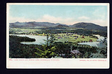 1905 over view Placid & Mirror Lakes Adirondack Mountains New York postcard