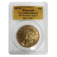 1857 S $20 Liberty Head Double Eagle Gold Coin SS Central America PCGS AU 55