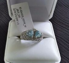 NWT! Blue Topaz Double Stone Filigree 925 Sterling Silver Ring Size 7 LOVE! (94)