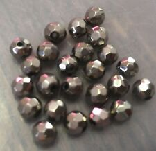 Vintage Japan Deep Silver Metallic Mirror Disco Faceted Round Glass Bead Lot C