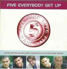 FIVE - EVERYBODY GET UP 1998 EU GATEFOLD CARD SLEEVE SLIP-CASE CD2 W/ POSTER RCA