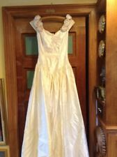 Vintage Oleg Cassini Silk Wedding Designer Dress Gown For Salvage or Wear As Is