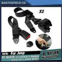 2pc Universal 3 Point Retractable Seat Belts Fit for Jeep CJ YJ Wrangler 1982-95