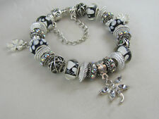 "BEAUTIFUL 925 SILVER STAMPED 20cm EUROPEAN STYLE CHARM BRACELET ""WHIMSICAL LOVE"""