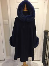 Navy Blue Cashmere Wool cape with fox fur Hood and Cuff Trim LINED