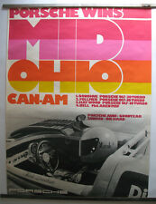 Rare Vintage 1973 Porsche Mid Ohio Can-Am Showroom Racing Victory Poster Orig