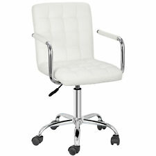 Office Chair Midback Adjustable Home Computer Executive Chair 360 Swivel White