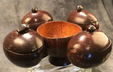 Eco Friendly Coconut Shell 5 Sections Bowl Handmade, 4 With Lids, Unique!!