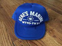 Vintage Royal Blue Gene's Marine Snapback Trucker Cap Hat - EUC