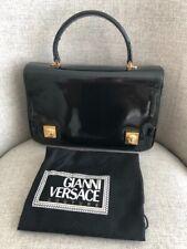 Gianni Versace Couture Vintage Shoulder Handbag Black Patent LeatherGold Medusa