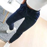 Women Casual Striped Drawstring Elastic Long Pants High Waist Pencil Trousers